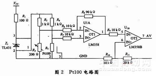 r4和pt100组成传感器测量电桥